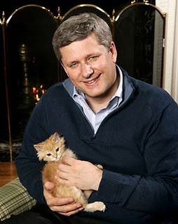 Stephen Harper proving hes just a guy... who strangles kittens